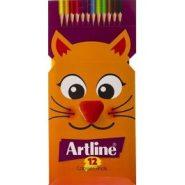 مداد رنگی 12 رنگ مقوایی آرت لاین؛ گربه