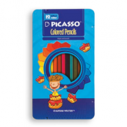 مداد رنگی شش پهلو 12 رنگ فلزی پیکاسو با طرح پسر