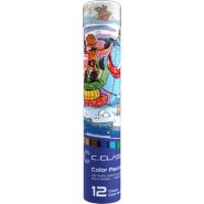 مداد رنگی 12 رنگ فلزی لوله ای سی کلاس 1