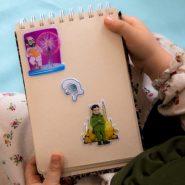 استیکر کودک طرح شهید تهران مقدم و شهید چمران