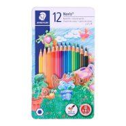 مداد رنگی 12 رنگ تخت فلزی استدلر؛ مدل Noris